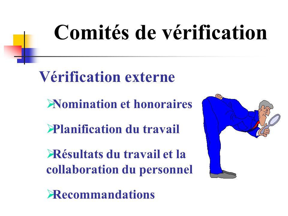 Comités de vérification Vérification externe Nomination et honoraires Planification du travail Résultats du travail et la collaboration du personnel R