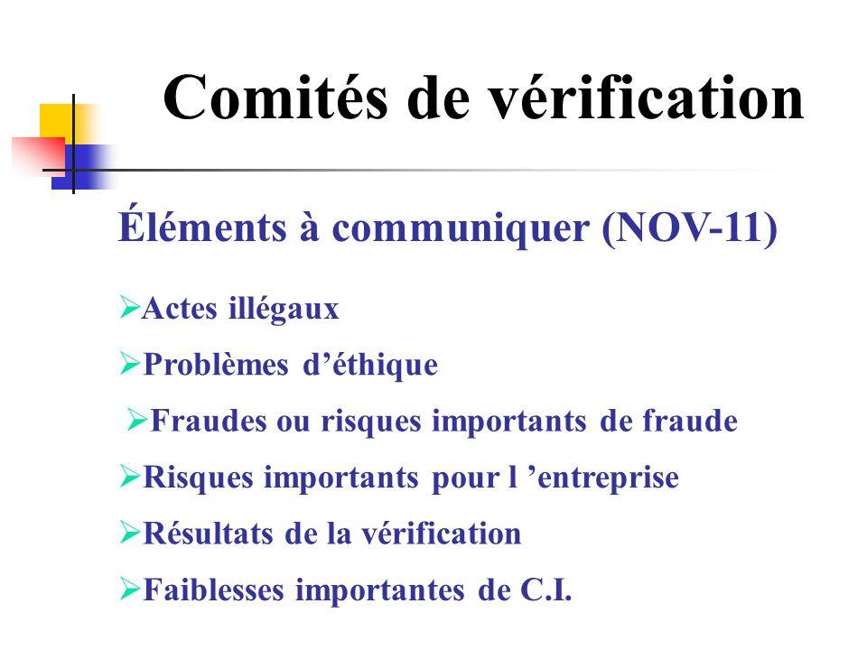 Comités de vérification Éléments à communiquer (NOV-11) Actes illégaux Problèmes déthique Fraudes ou risques importants de fraude Risques importants p