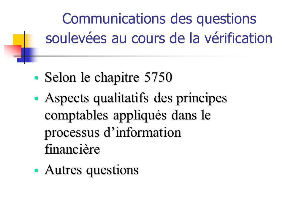 Communications des questions soulevées au cours de la vérification Selon le chapitre 5750 Selon le chapitre 5750 Aspects qualitatifs des principes com