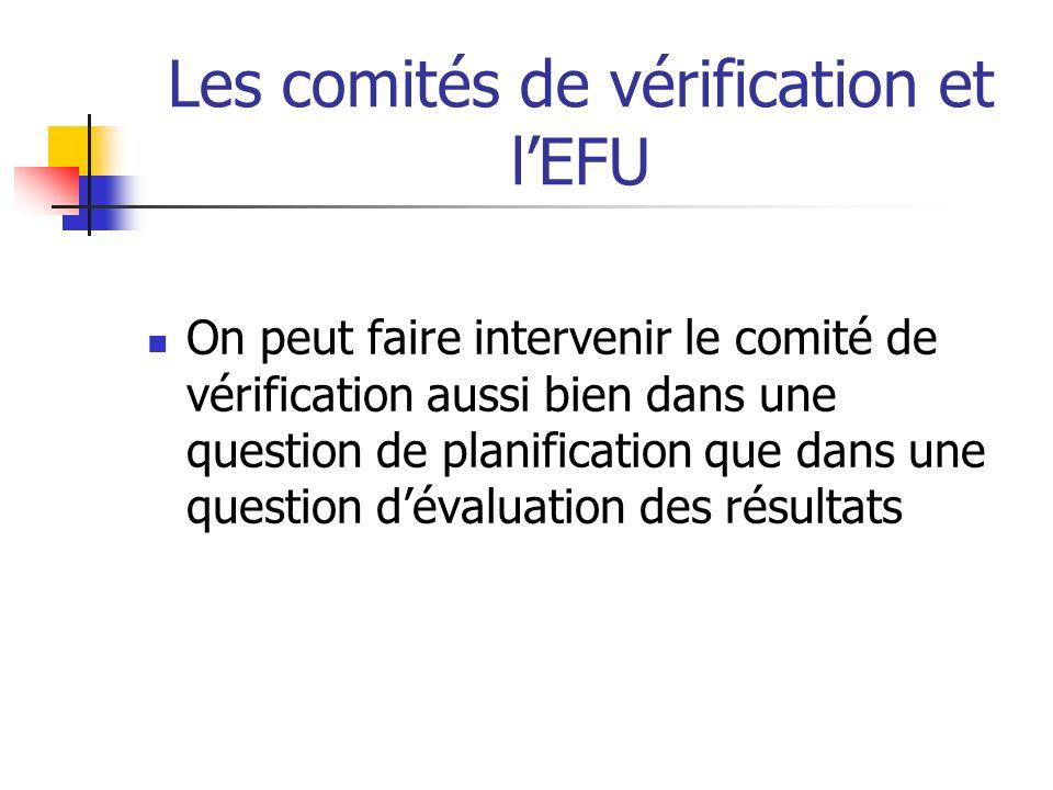 Les comités de vérification et lEFU On peut faire intervenir le comité de vérification aussi bien dans une question de planification que dans une ques