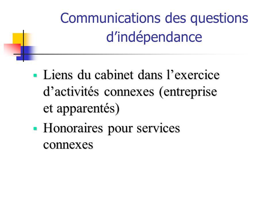 Communications des questions dindépendance Liens du cabinet dans lexercice dactivités connexes (entreprise et apparentés) Liens du cabinet dans lexerc