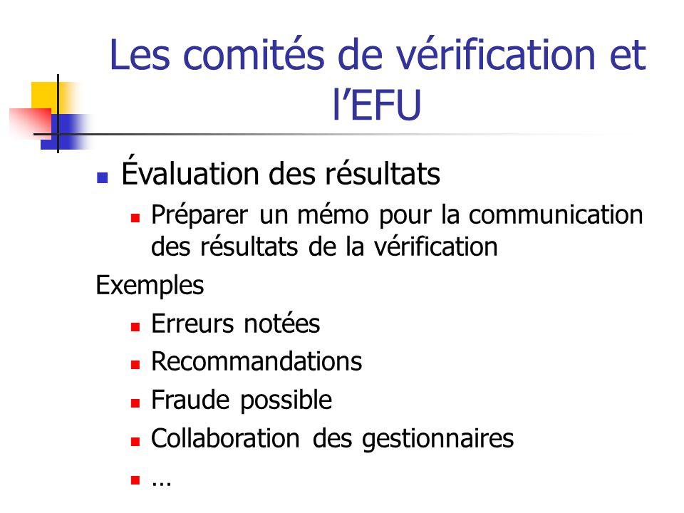 Les comités de vérification et lEFU Évaluation des résultats Préparer un mémo pour la communication des résultats de la vérification Exemples Erreurs