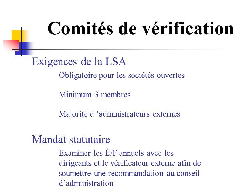 Comités de vérification Mandat statutaire Examiner les É/F annuels avec les dirigeants et le vérificateur externe afin de soumettre une recommandation