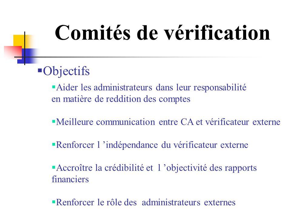 Comités de vérification Objectifs Aider les administrateurs dans leur responsabilité en matière de reddition des comptes Meilleure communication entre