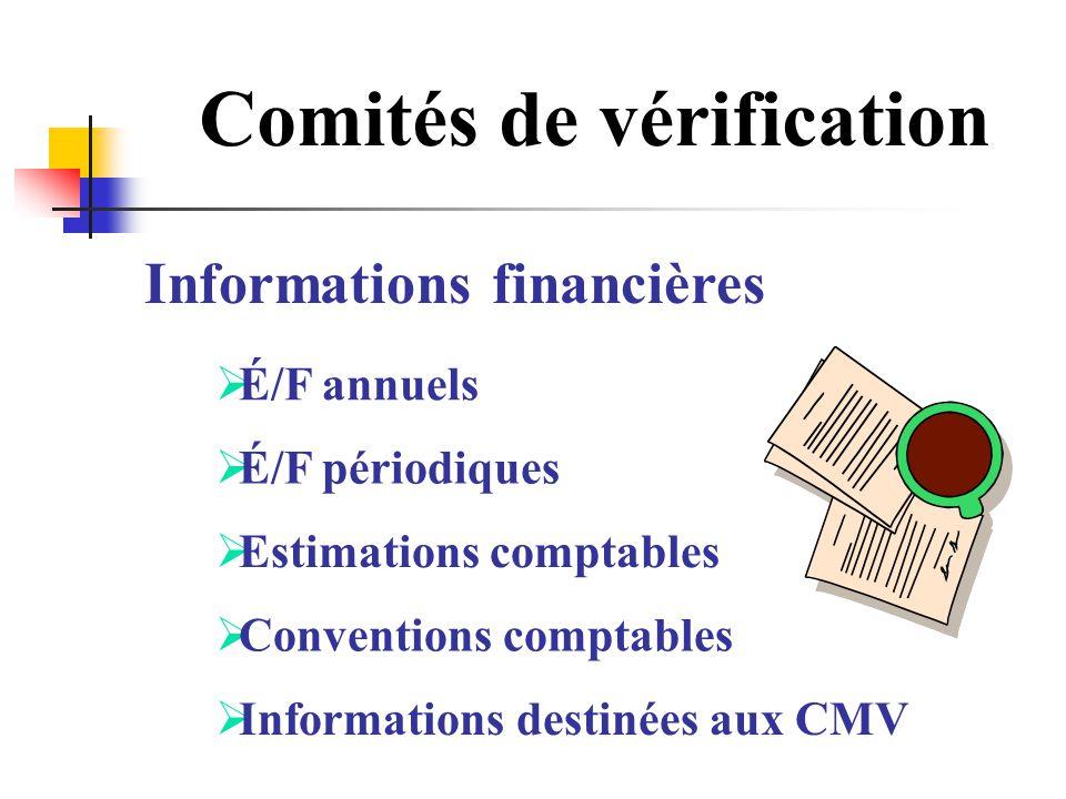Comités de vérification Informations financières É/F annuels É/F périodiques Estimations comptables Conventions comptables Informations destinées aux