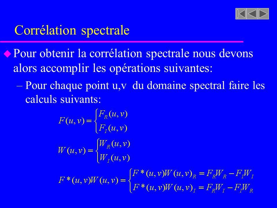 Corrélation spectrale u Pour obtenir la corrélation spectrale nous devons alors accomplir les opérations suivantes: –Pour chaque point u,v du domaine spectral faire les calculs suivants: