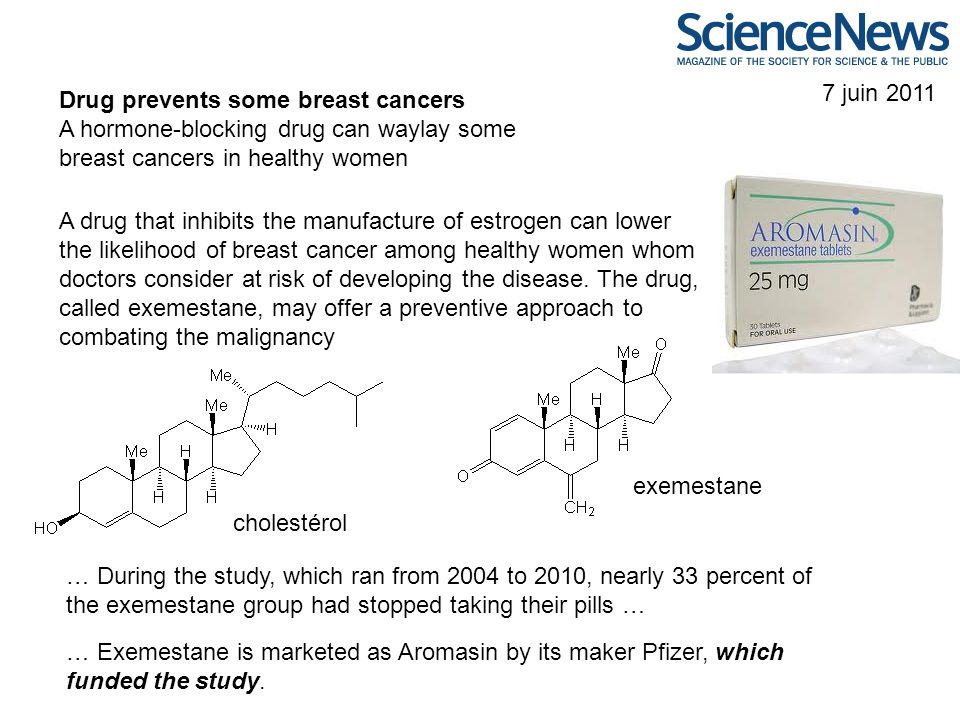 7 juin 2011 Drug prevents some breast cancers A hormone-blocking drug can waylay some breast cancers in healthy women A drug that inhibits the manufac