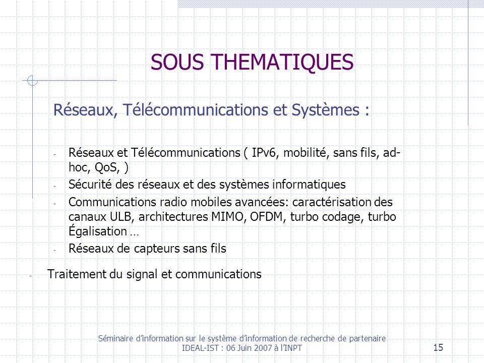 Séminaire dinformation sur le système dinformation de recherche de partenaire IDEAL-IST : 06 Juin 2007 à lINPT 15 SOUS THEMATIQUES Réseaux, Télécommunications et Systèmes : - Réseaux et Télécommunications ( IPv6, mobilité, sans fils, ad- hoc, QoS, ) - Sécurité des réseaux et des systèmes informatiques - Communications radio mobiles avancées: caractérisation des canaux ULB, architectures MIMO, OFDM, turbo codage, turbo Égalisation … - Réseaux de capteurs sans fils - Traitement du signal et communications