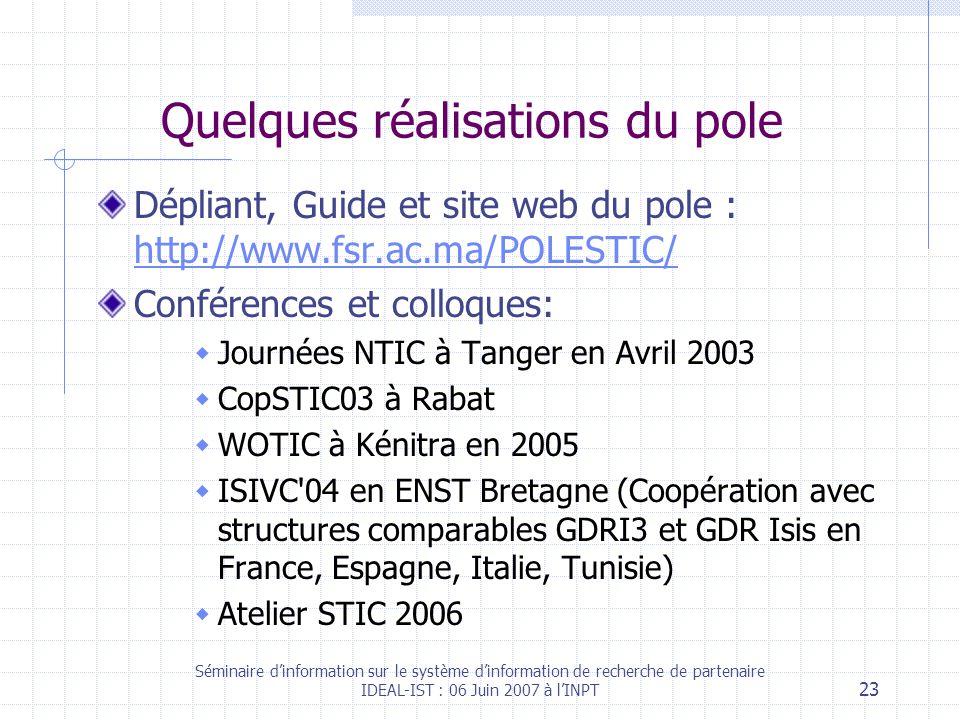 Séminaire dinformation sur le système dinformation de recherche de partenaire IDEAL-IST : 06 Juin 2007 à lINPT 23 Quelques réalisations du pole Dépliant, Guide et site web du pole : http://www.fsr.ac.ma/POLESTIC/ http://www.fsr.ac.ma/POLESTIC/ Conférences et colloques: Journées NTIC à Tanger en Avril 2003 CopSTIC03 à Rabat WOTIC à Kénitra en 2005 ISIVC 04 en ENST Bretagne (Coopération avec structures comparables GDRI3 et GDR Isis en France, Espagne, Italie, Tunisie) Atelier STIC 2006