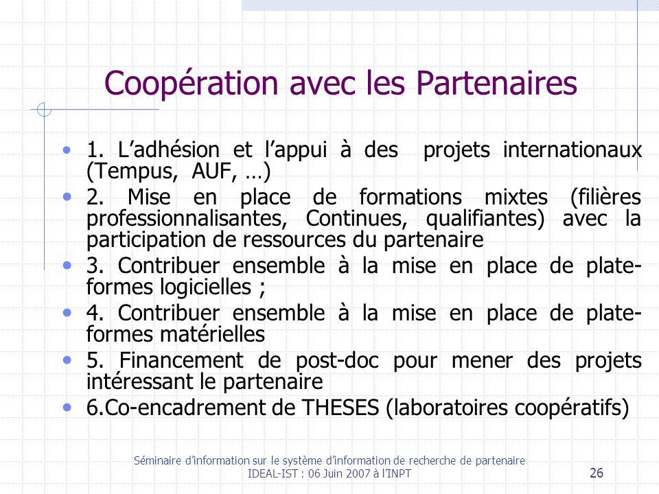 Séminaire dinformation sur le système dinformation de recherche de partenaire IDEAL-IST : 06 Juin 2007 à lINPT 26 Coopération avec les Partenaires 1.