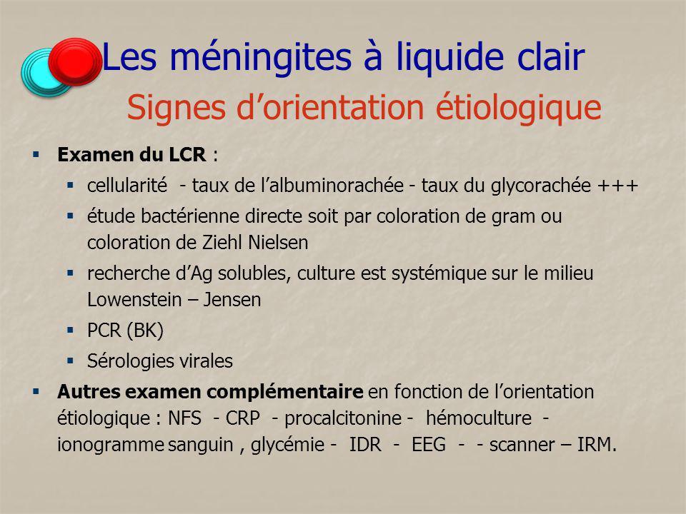 Les méningites à liquide clair Signes dorientation étiologique Examen du LCR : cellularité - taux de lalbuminorachée - taux du glycorachée +++ étude b