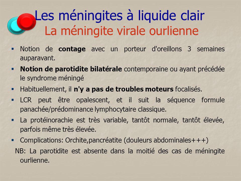 Les méningites à liquide clair La méningite virale ourlienne Notion de contage avec un porteur d'oreillons 3 semaines auparavant. Notion de parotidite