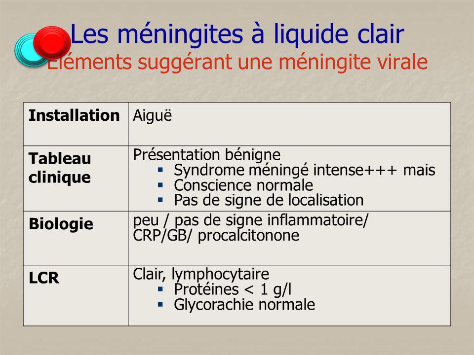 Les méningites à liquide clair Éléments suggérant une méningite virale InstallationAiguë Tableau clinique Présentation bénigne Syndrome méningé intens