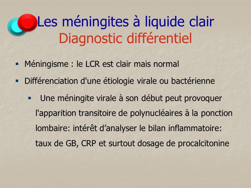 Les méningites à liquide clair Diagnostic différentiel Méningisme : le LCR est clair mais normal Différenciation d'une étiologie virale ou bactérienne