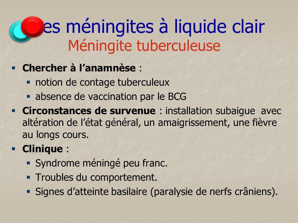 Les méningites à liquide clair Méningite tuberculeuse Chercher à lanamnèse : notion de contage tuberculeux absence de vaccination par le BCG Circonsta