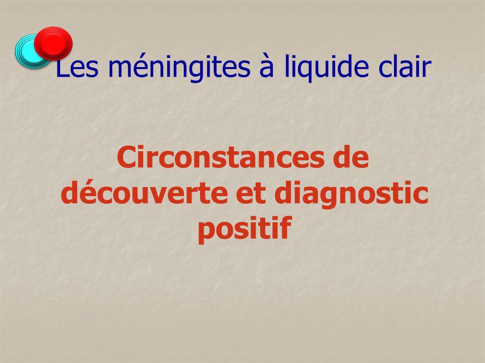 Les méningites à liquide clair Circonstances de découverte et diagnostic positif