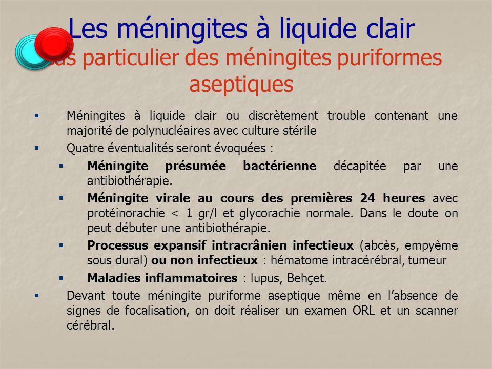Les méningites à liquide clair Cas particulier des méningites puriformes aseptiques Méningites à liquide clair ou discrètement trouble contenant une m