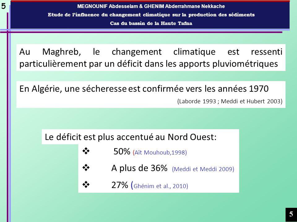 MEGNOUNIF Abdesselam & GHENIM Abderrahmane Nekkache Etude de linfluence du changement climatique sur la production des sédiments Cas du bassin de la Haute Tafna 6 6 Fig.