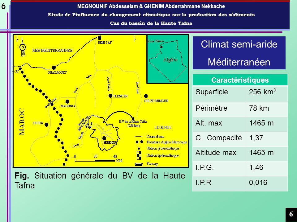 MEGNOUNIF Abdesselam & GHENIM Abderrahmane Nekkache Etude de linfluence du changement climatique sur la production des sédiments Cas du bassin de la Haute Tafna 7 7 Fig.