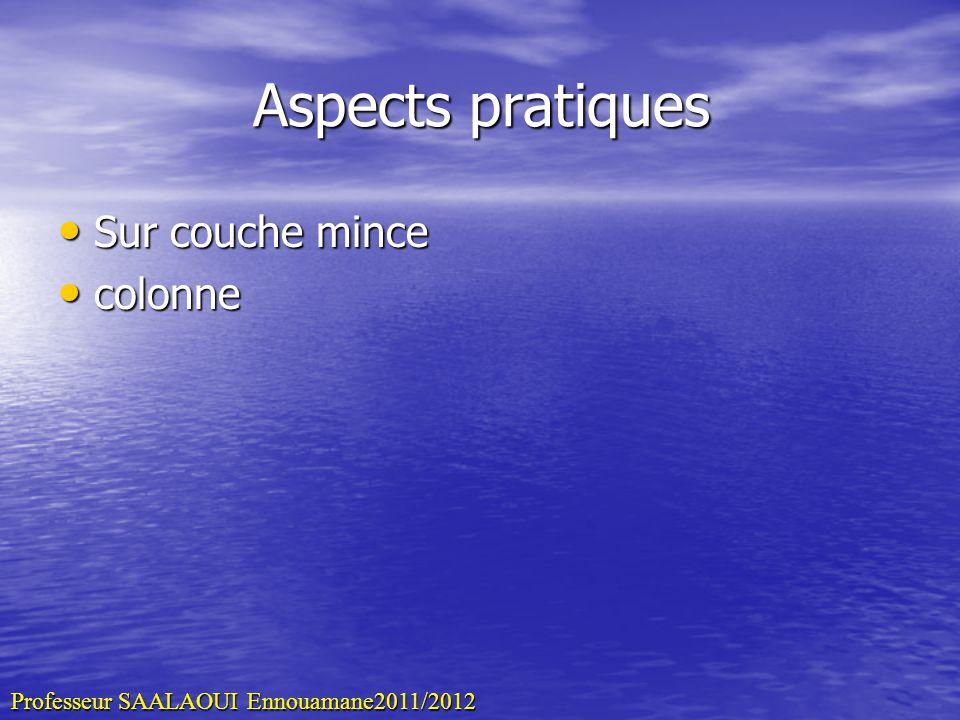 Aspects pratiques Sur couche mince Sur couche mince colonne colonne Professeur SAALAOUI Ennouamane2011/2012