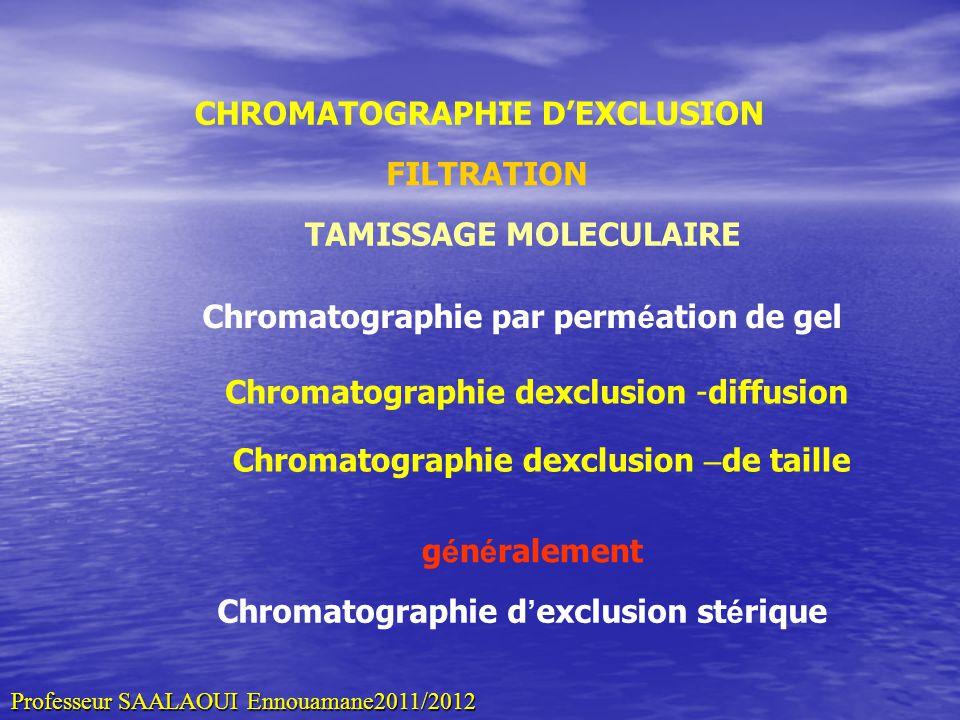 CHROMATOGRAPHIE DEXCLUSION FILTRATION TAMISSAGE MOLECULAIRE Chromatographie dexclusion -diffusion Chromatographie par perm é ation de gel g é n é rale
