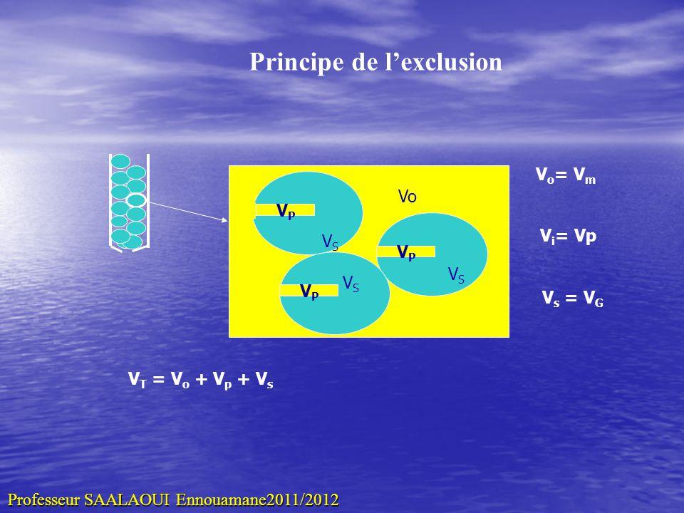 Diff é rents volumes sur le chromatogramme Vo VRVR VT VoVo VpVp VsVs Vc V c = V o + V P + V S VT = Vo + V P Volume de la colonne VPVP VPVP VSVS VPVP VSVS VSVS Vo Vo = volume mort = Vm Vp = volume des pores Vs = volume interne Vg Professeur SAALAOUI Ennouamane2011/2012