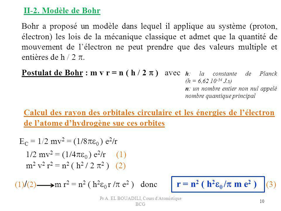 m r 2 = n 2 ( h 2 0 r / e 2 ) donc r = n 2 ( h 2 0 / m e 2 ) (3) 10 II-2. Modèle de Bohr Bohr a proposé un modèle dans lequel il applique au système (