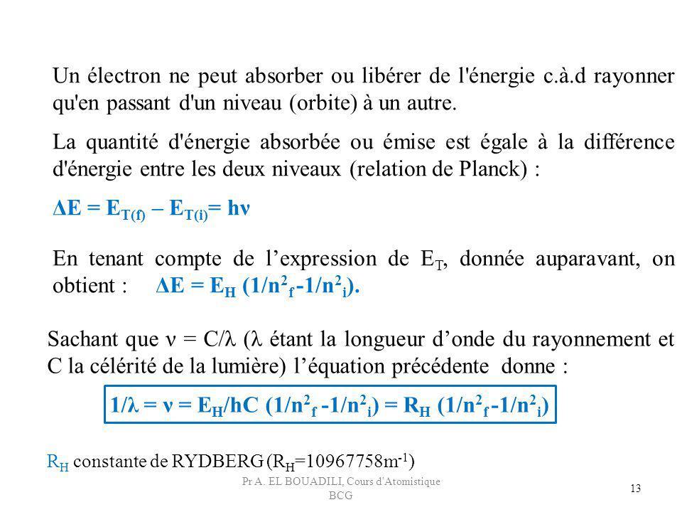 13 Un électron ne peut absorber ou libérer de l'énergie c.à.d rayonner qu'en passant d'un niveau (orbite) à un autre. La quantité d'énergie absorbée o