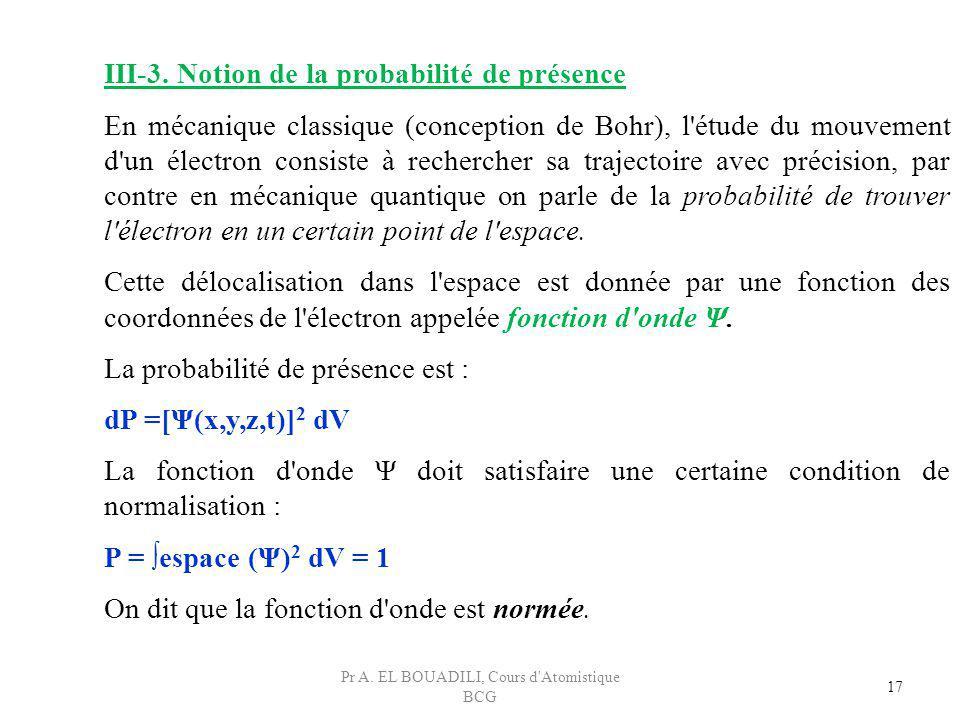 17 III-3. Notion de la probabilité de présence En mécanique classique (conception de Bohr), l'étude du mouvement d'un électron consiste à rechercher s