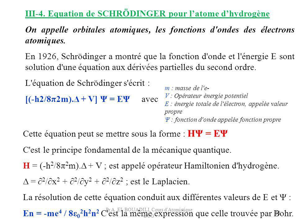 Cette équation peut se mettre sous la forme : HΨ = EΨ C'est le principe fondamental de la mécanique quantique. H = (-h 2 /8π 2 m).Δ + V ; est appelé o
