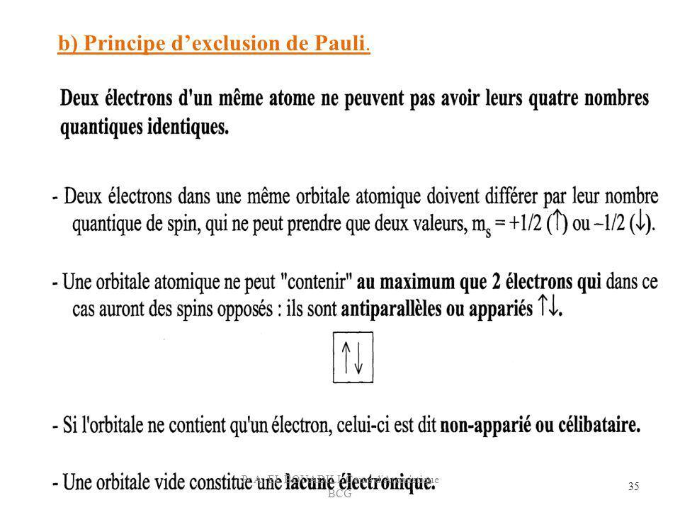 b) Principe dexclusion de Pauli. 35 Pr A. EL BOUADILI, Cours d'Atomistique BCG