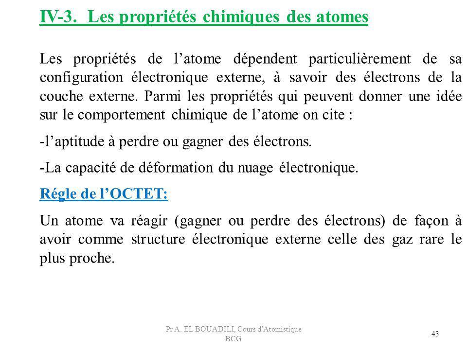 43 IV-3. Les propriétés chimiques des atomes Les propriétés de latome dépendent particulièrement de sa configuration électronique externe, à savoir de