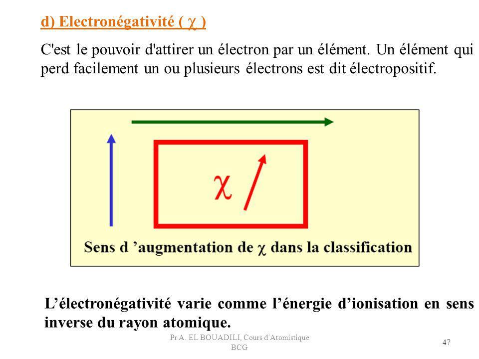 47 d) Electronégativité ( χ ) C'est le pouvoir d'attirer un électron par un élément. Un élément qui perd facilement un ou plusieurs électrons est dit