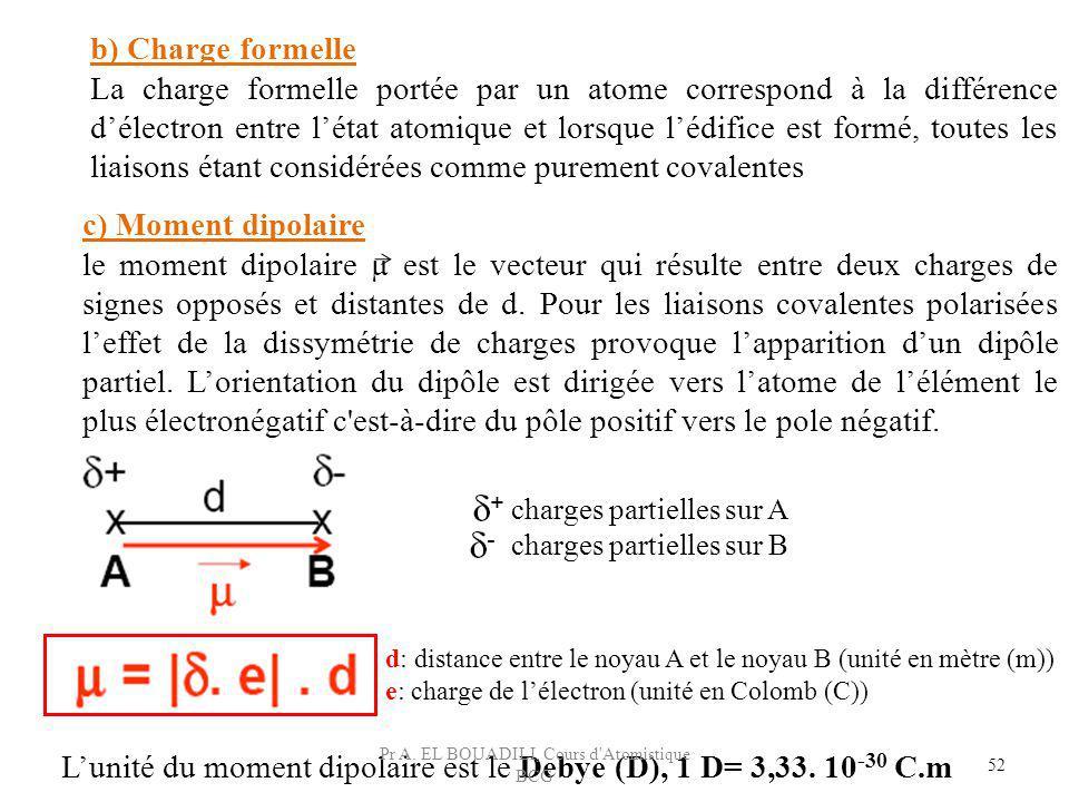 52 b) Charge formelle La charge formelle portée par un atome correspond à la différence délectron entre létat atomique et lorsque lédifice est formé,