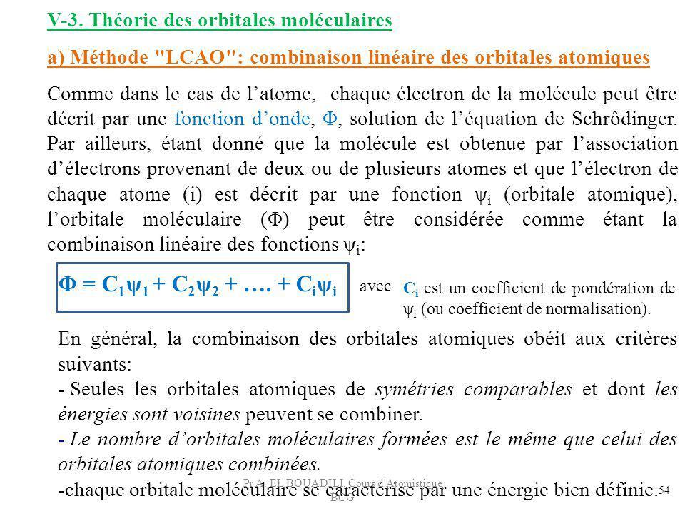 En général, la combinaison des orbitales atomiques obéit aux critères suivants: - Seules les orbitales atomiques de symétries comparables et dont les