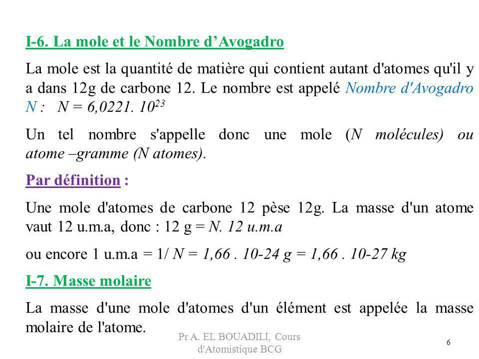 6 I-6. La mole et le Nombre dAvogadro La mole est la quantité de matière qui contient autant d'atomes qu'il y a dans 12g de carbone 12. Le nombre est