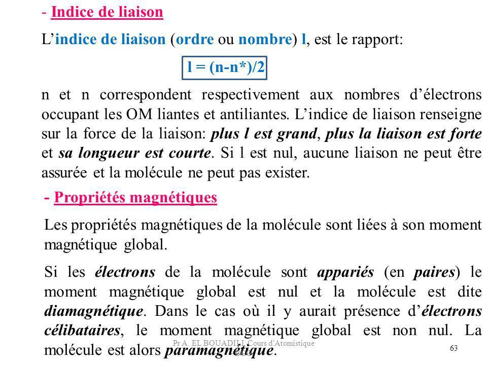 - Propriétés magnétiques Les propriétés magnétiques de la molécule sont liées à son moment magnétique global. Si les électrons de la molécule sont app