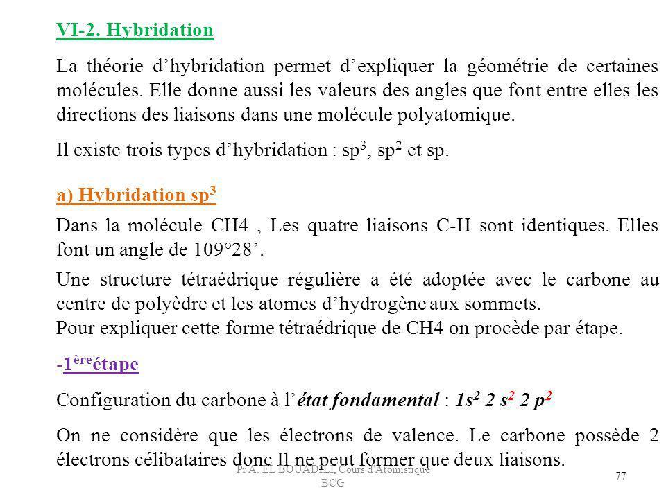 -1 ère étape Configuration du carbone à létat fondamental : 1s 2 2 s 2 2 p 2 On ne considère que les électrons de valence. Le carbone possède 2 électr