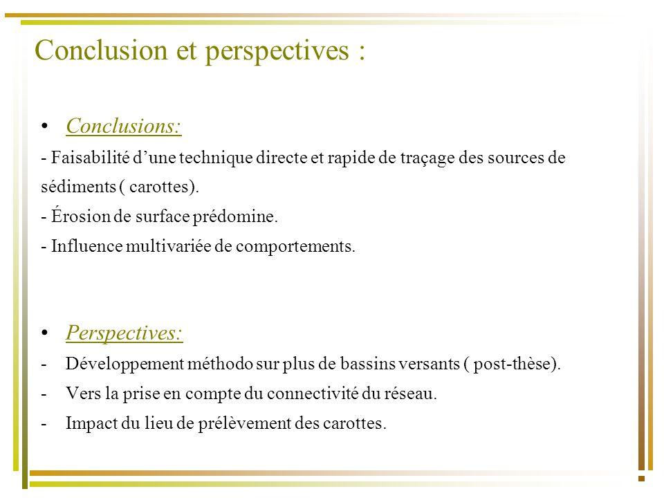 Conclusion et perspectives : Conclusions: - Faisabilité dune technique directe et rapide de traçage des sources de sédiments ( carottes).