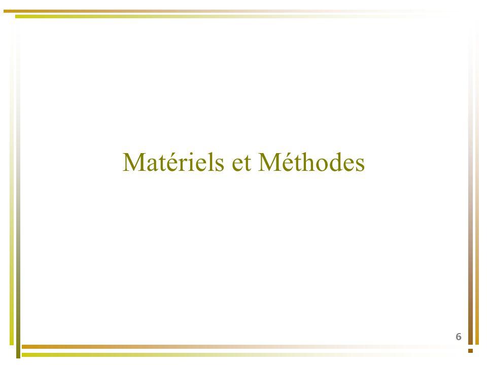 6 Matériels et Méthodes