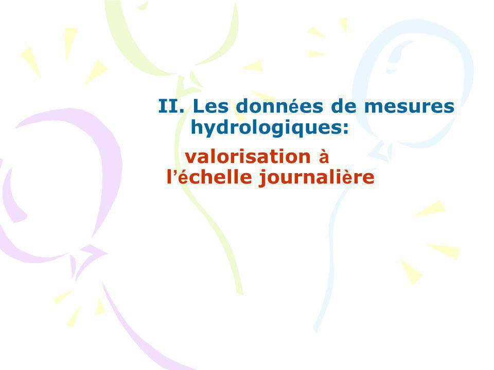 II. Les donn é es de mesures hydrologiques: valorisation à l é chelle journali è re