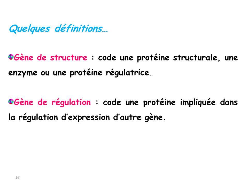 16 Gène de structure : code une protéine structurale, une enzyme ou une protéine régulatrice. Gène de régulation : code une protéine impliquée dans la
