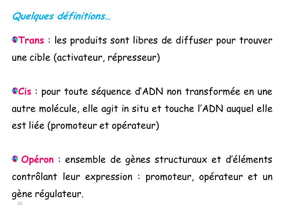 26 Trans : les produits sont libres de diffuser pour trouver une cible (activateur, répresseur) Cis : pour toute séquence dADN non transformée en une