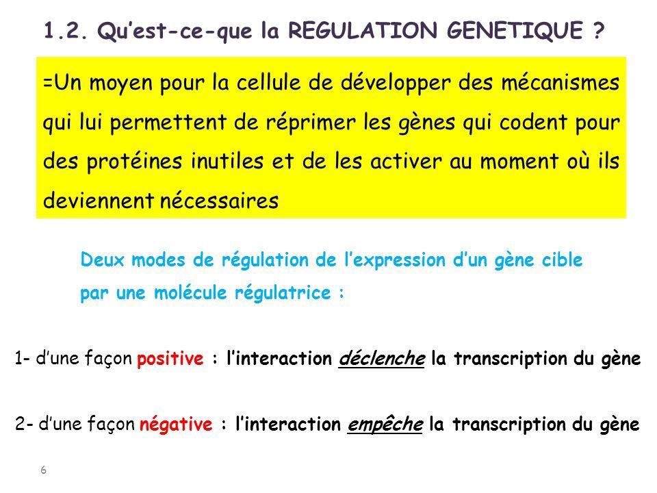 LORSQUE LE CONTRÔLE DE LA TRANSCRIPTION EST NEGATIF: 17 Lorsque la protéine répresseur se fixe à lopérateur, lARN polymérase ne peut plus initier la transcription ce qui empêche lexpression du gène.