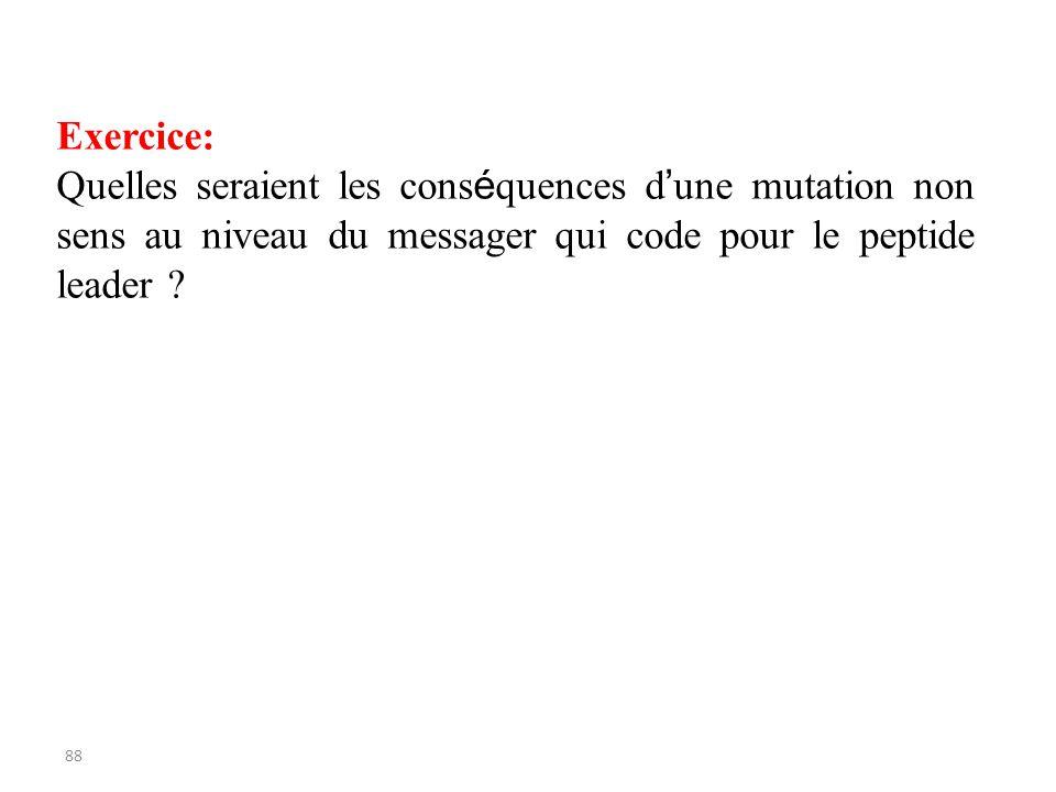 88 Exercice: Quelles seraient les cons é quences d une mutation non sens au niveau du messager qui code pour le peptide leader ?