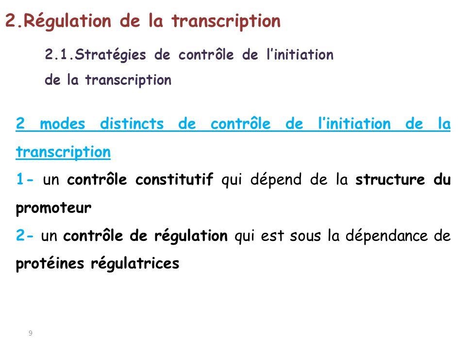 9 2.1.Stratégies de contrôle de linitiation de la transcription 2.Régulation de la transcription 2 modes distincts de contrôle de linitiation de la tr