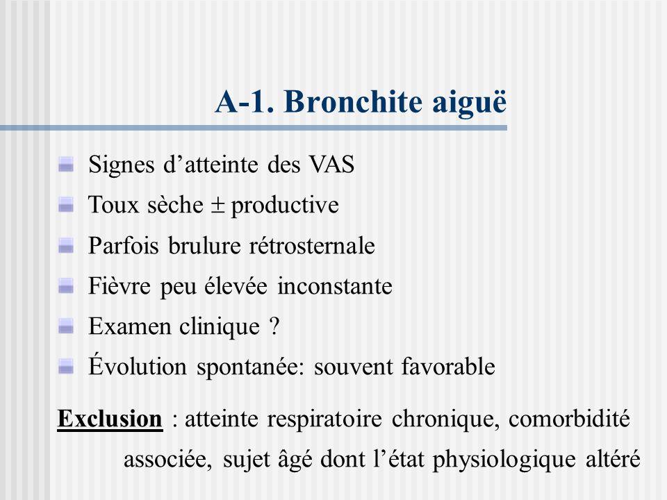 E-2.Bronchites aiguës: favorable, bronchite suppurée, toux persistante E-3.