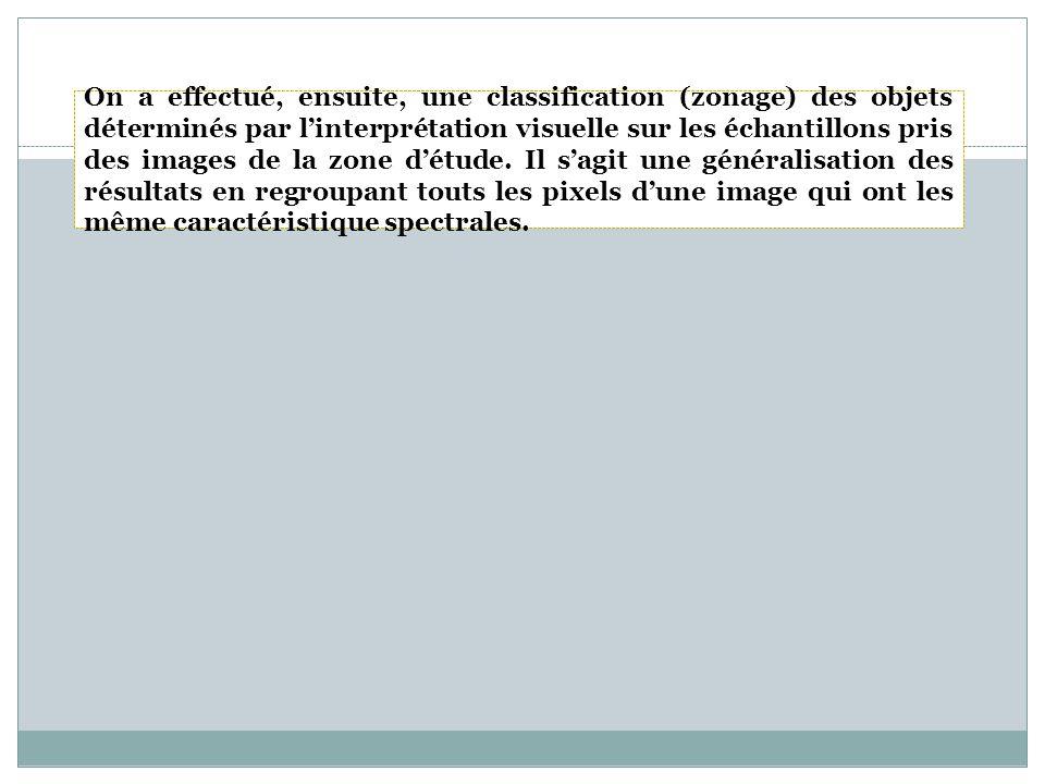 On a effectué, ensuite, une classification (zonage) des objets déterminés par linterprétation visuelle sur les échantillons pris des images de la zone