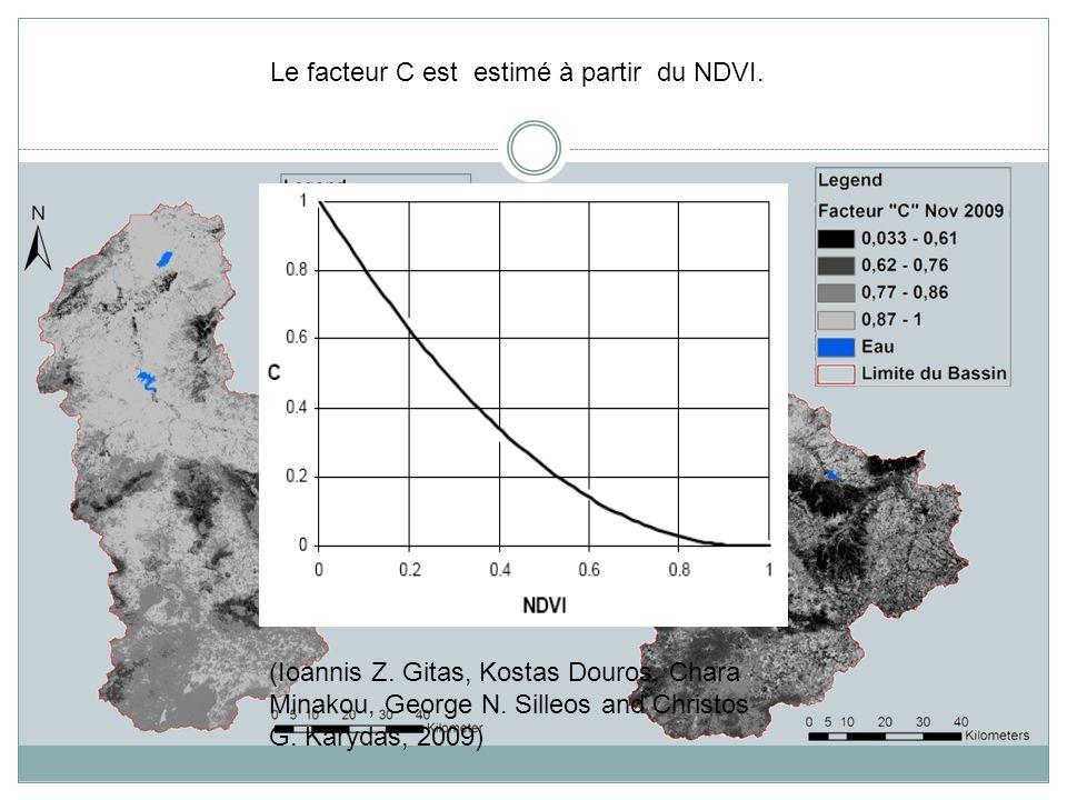 Le facteur C est estimé à partir du NDVI. (Ioannis Z. Gitas, Kostas Douros, Chara Minakou, George N. Silleos and Christos G. Karydas, 2009)