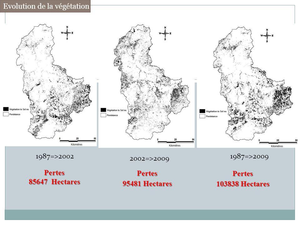 1987=>2002 2002=>2009 1987=>2009 Pertes 85647 Hectares Pertes 95481 Hectares Pertes 103838 Hectares Evolution de la végétation